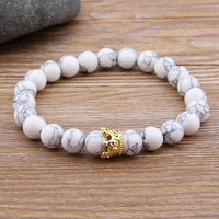 Beaded Bracelets 2pcs/set King Crown Natural Stone Beaded Bracelet