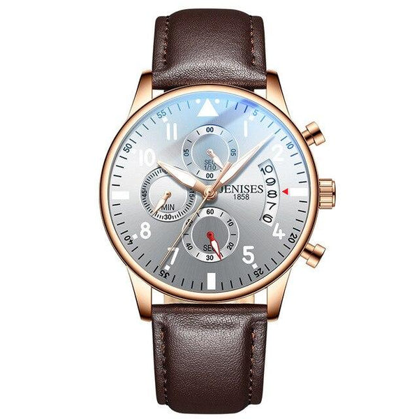 Megir Leather Casual Business Watch for Men 8013