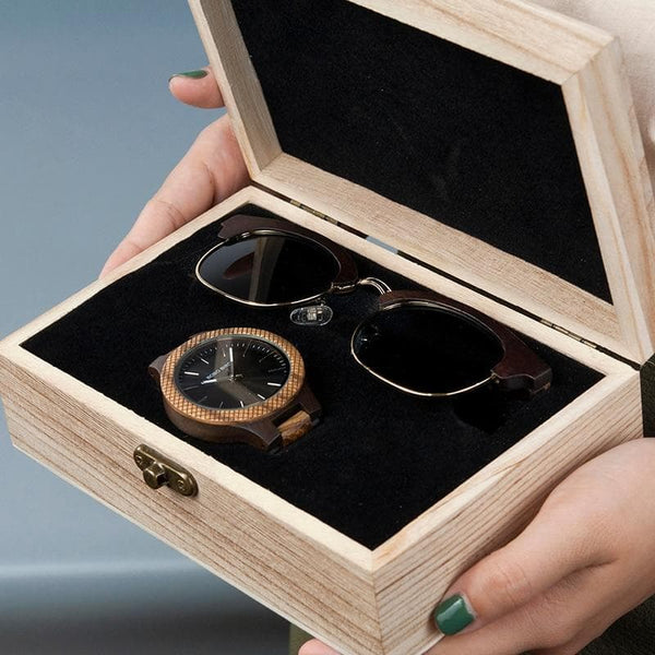 BOBO BIRD Men's Wooden Watch & Sunglasses Set