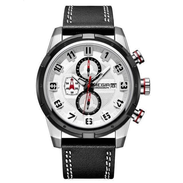 MEGIR Men's Sports Watch with Genuine Leather Strap 2082