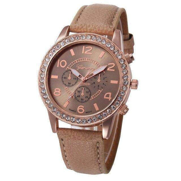 Watches Shiny Classic Watch with Leather Strap