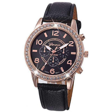 Shiny Classic Watch with Leather Strap