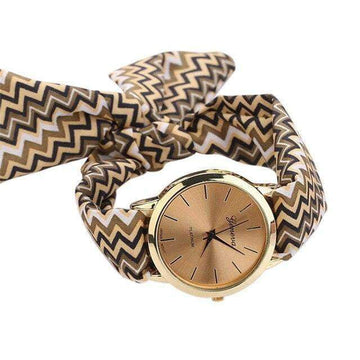 Summer Fabric Zigzag Lined Bracelet Watch