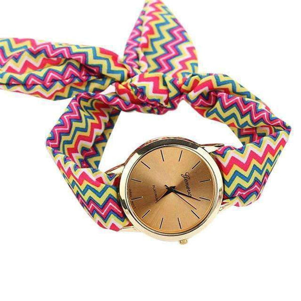 Watches Summer Fabric Zigzag Lined Bracelet Watch