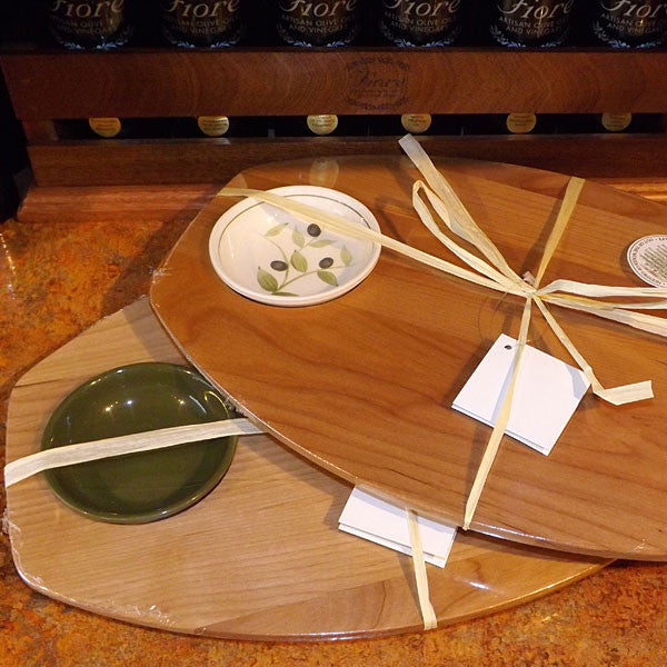 Wooden Board with 2 Dipping Dishes