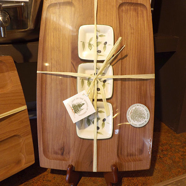 3-Dish Wooden Boards
