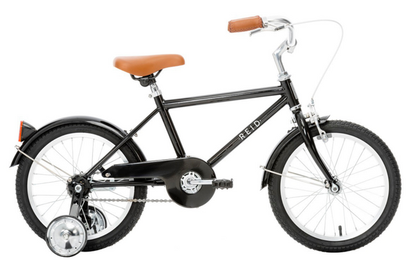 "Roadster 16"" Retro Style Bike in Black with training wheels from Reid Cycles Australia"