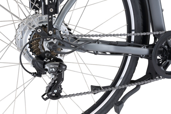 City Pulse eBike in charcoal showing Shimano 7-speed rear derailleur from Reid Cycles Australia