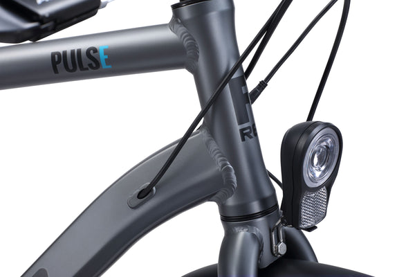 City Pulse eBike in charcoal showing front light from Reid Cycles Australia
