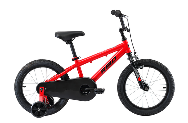 "Explorer S 16"" Kids Bike in red with training wheels from Reid Cycles Australia"
