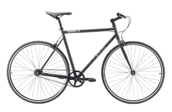 Harrier 1.0 singlespeed bike in Matte black with dual pivot alloy brakes from Reid Cycles Australia