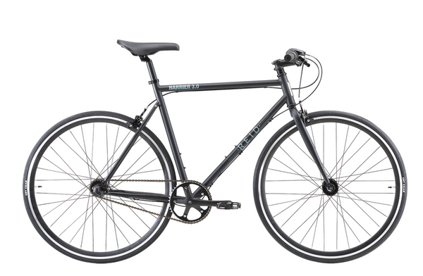Harrier 3.0 fixie style bike in matte black with Shimano 3-speed gearing from Reid Cycles Australia