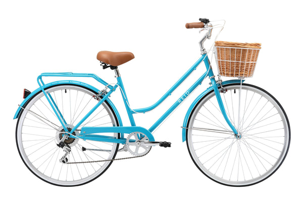 Ladies Classic Plus Vintage Bike in aqua with 7-speed Shimano gearing from Reid Cycles Australia
