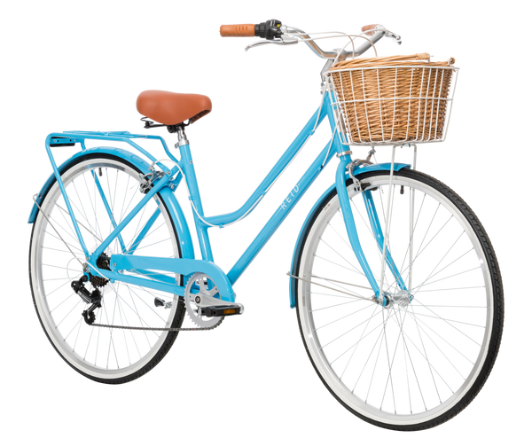 Ladies Classic Plus Vintage Bike in Baby Blue with Shimano 7-speed gearing from Reid Cycles Australia