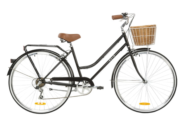 Ladies Classic Plus Vintage Bike in Black with 7-speed Shimano gearing from Reid Cycles Australia