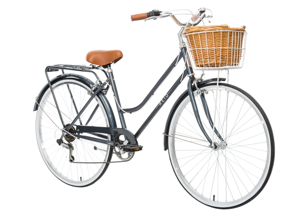 Ladies Classic Plus Vintage Bike in Charcoal on front angle with front basket from Reid Cycles Australia