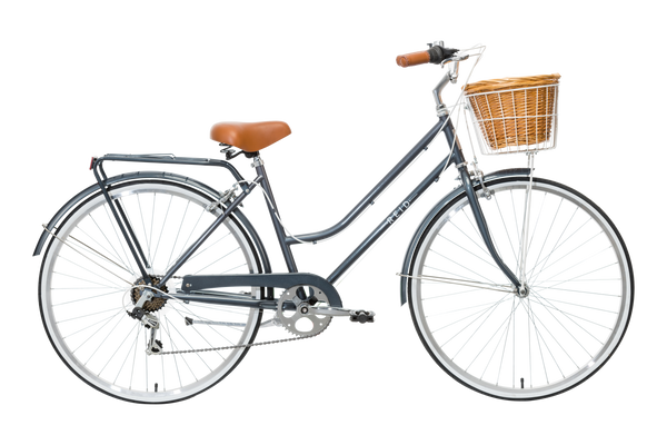 Ladies Classic Plus Vintage Bike in Charcoal with 7-speed Shimano gearing from Reid Cycles Australia