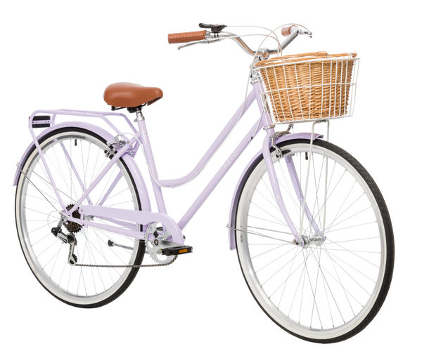 Ladies Classic Plus Vintage Bike in Lavender on front angle featuring front wicker basket from Reid Cycles Australia