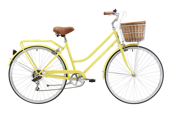 Ladies Classic Plus Vintage Bike in Lemon with 7-speed Shimano gearing from Reid Cycles Australia