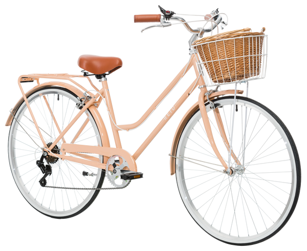 Ladies Classic Plus Vintage Bike in Light Coral on front angle from Reid Cycles Australia