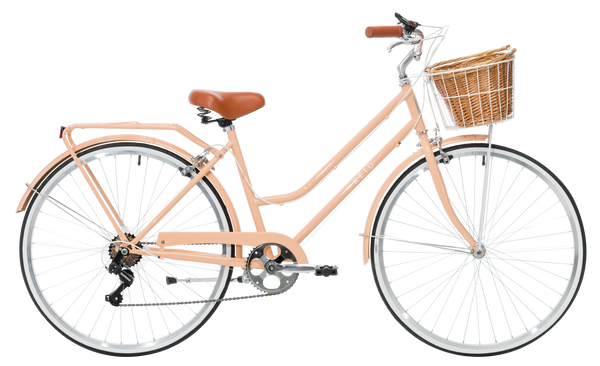 Ladies Classic Plus Vintage Bike in Light Coral with 7-speed Shimano gearing from Reid Cycles Australia