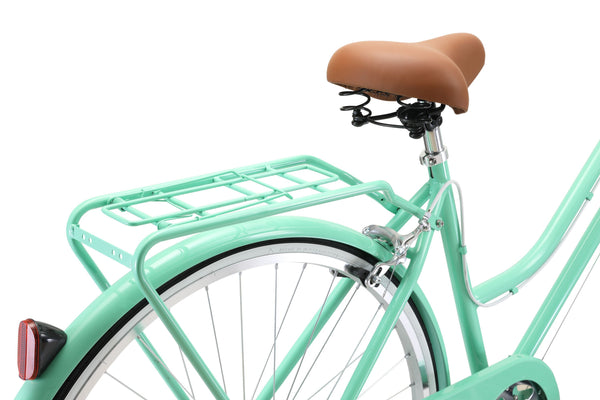 Ladies Classic Plus Vintage Bike in Mint Green showing rear pannier rack and comfortable saddle from Reid Cycles Australia