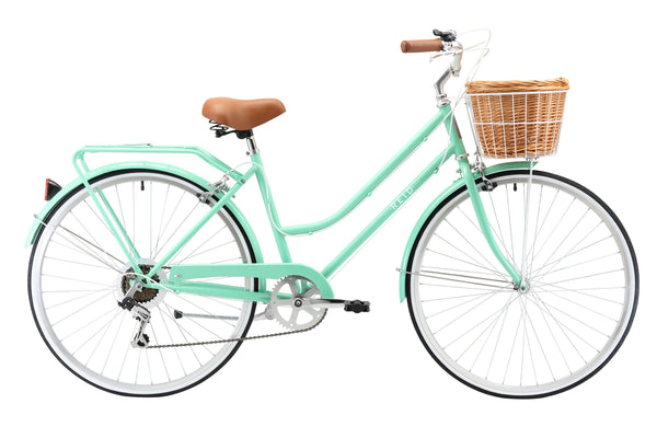Ladies Classic Plus Vintage Bike in Mint Green with 7-speed Shimano gearing from Reid Cycles Australia
