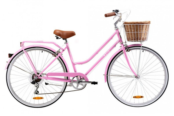 Ladies Classic Plus Vintage Bike in Pink with 7-speed Shimano gearing from Reid Cycles Australia
