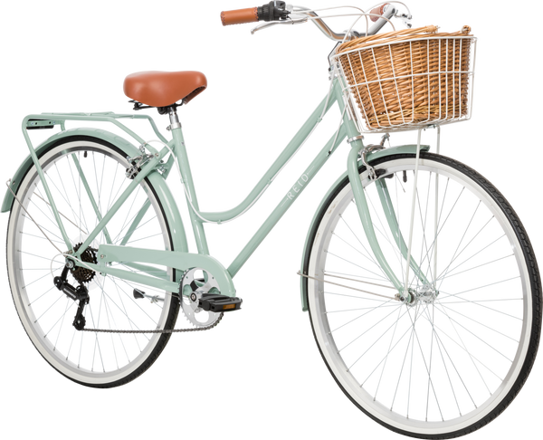 Ladies Classic Plus Vintage Bike in white on front angle featuring front wicker basket from Reid Cycles Australia