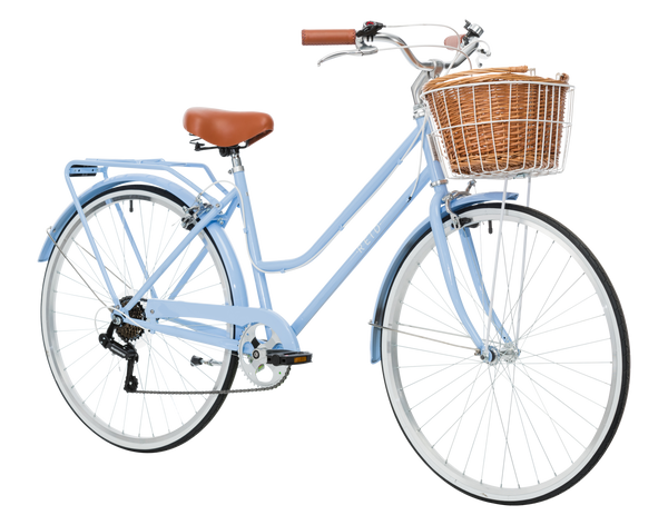 Ladies Classic Plus Vintage Bike in Sky Blue on front angle from Reid Cycles Australia