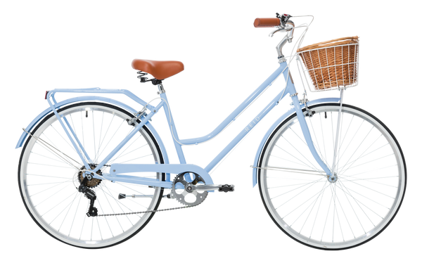 Ladies Classic Plus Vintage Bike in Sky Blue with 7-speed Shimano gearing from Reid Cycles Australia