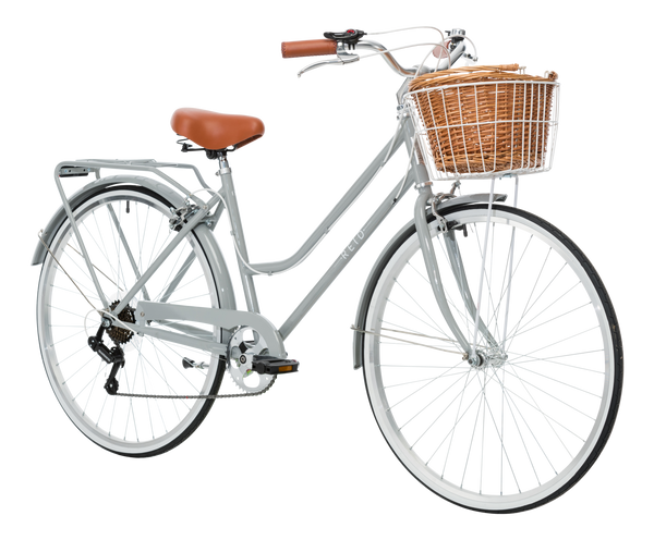 Ladies Classic Plus Vintage Bike in Smoke Grey on front angle from Reid Cycles Australia