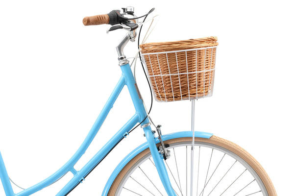 Ladies Deluxe Vintage Bike in Baby Blue showing front basket from Reid Cycles Australia