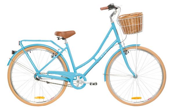 Ladies Deluxe Vintage Bike in Baby Blue with 3-speed Shimano gearing from Reid Cycles Australia