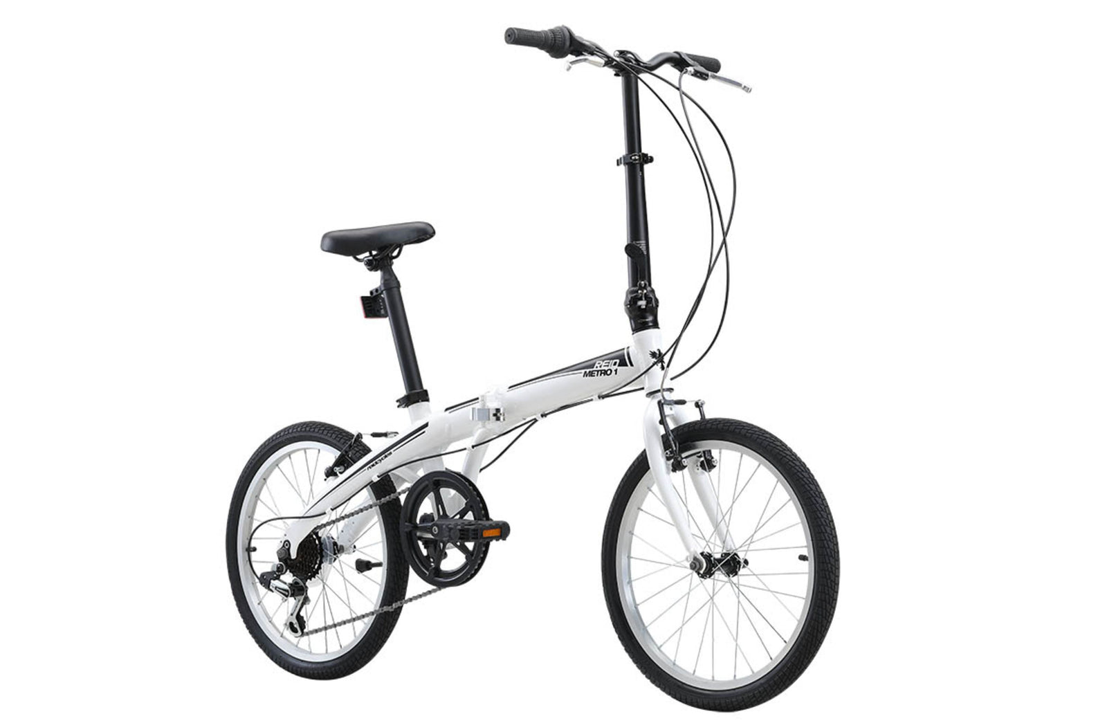 Metro Folding Bike commuter bike in white on front angle from Reid Cycles Australia