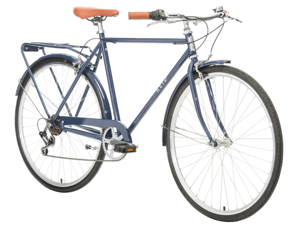 Roadster Vintage Bike in Navy on front angle from Reid Cycles Austalia