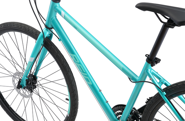 Transit Disc WSD women's commuter bike in green showing Reid logo on hybrid bike frame from Reid Cycles Australia