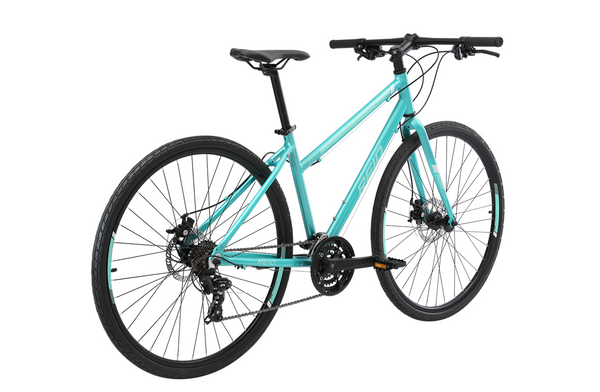 Transit Disc WSD women's commuter bike in green on rear angle from Reid Cycles Australia