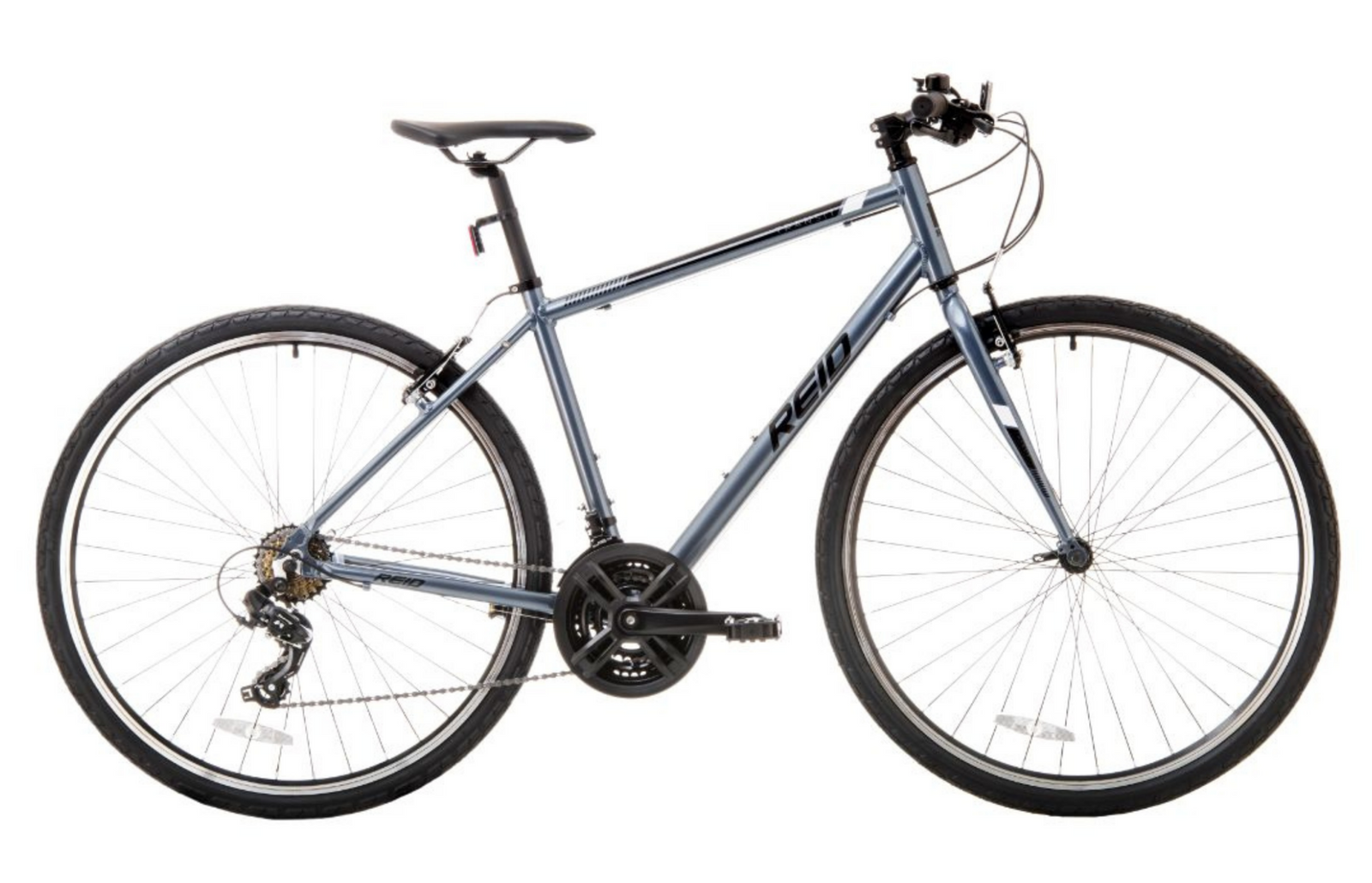 Transit Hybrid Commuter Bike in Grey with Shimano 7-speed gearing from Reid Cycles Australia