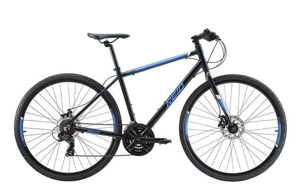 Transit Disc commuter bike in black with Shimano 7-speed gearing from Reid Cycles Australia