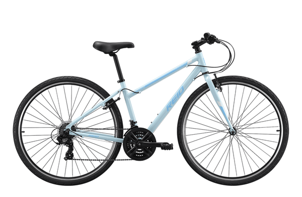 Transit WSD women's commuter bike in baby blue with Shimano 7-speed gearing from Reid Cycles Australia