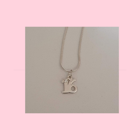 Sterling Silver 16th 18th or 21st Charm Necklace