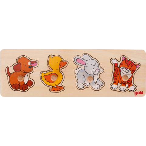 Goki Lift-out Puzzle - Dog, Duck, Rabbit, Cat