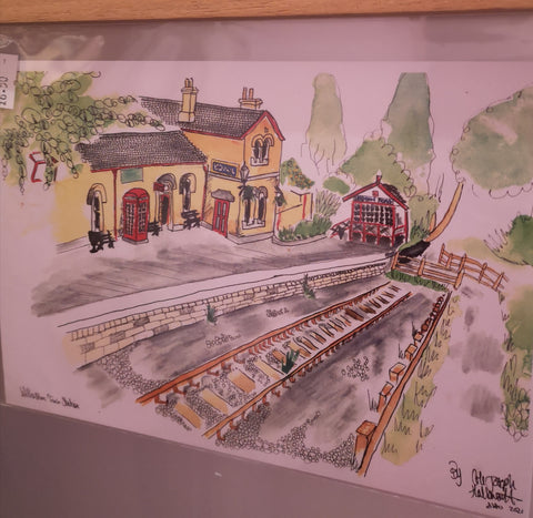 Willaston Train Station Watercolour Painting Print