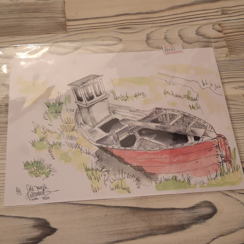 Wirral Waters Red Boat Watercolour Painting Print