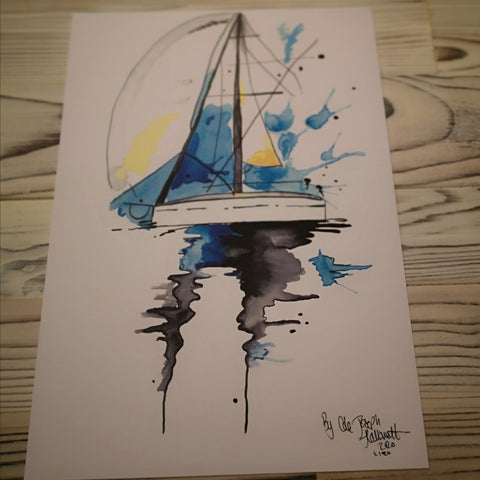 Sail Boat Watercolour Painting Print