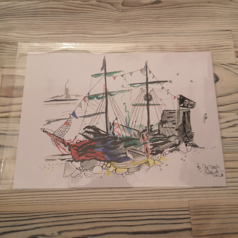 Black Pearl New Brighton Watercolour Painting Print