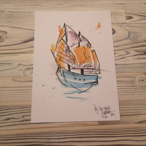 Ship Watercolour Painting Print