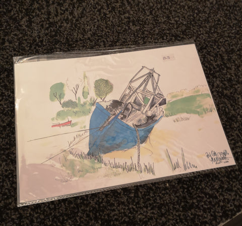 Copy of Wirral Waters Blue Boat Watercolour Painting Print
