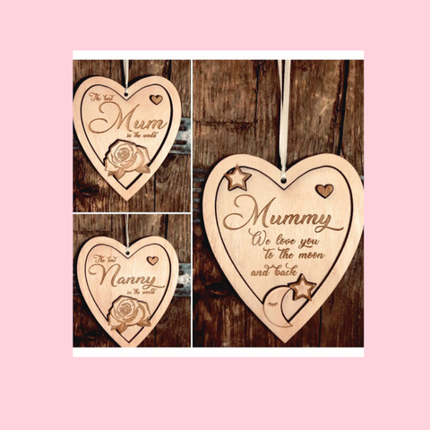 Double Layer Hanging Heart Mum Nan Design